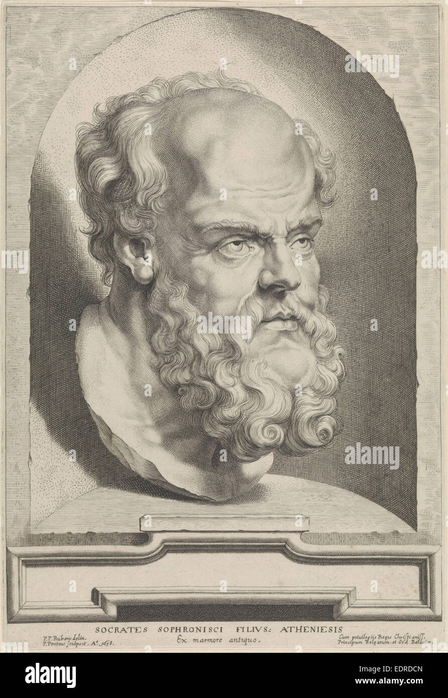 Antique bust of Socrates, Paulus Pontius, 1638 - Stock Image
