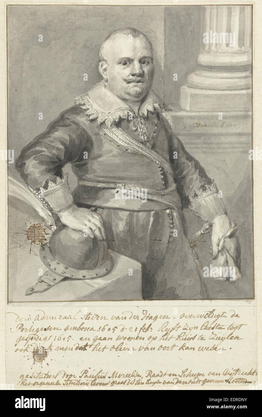 Portrait of Admiral Steven van der Hagen or Olivier van Noort, standing by a table with a helmet - Stock Image
