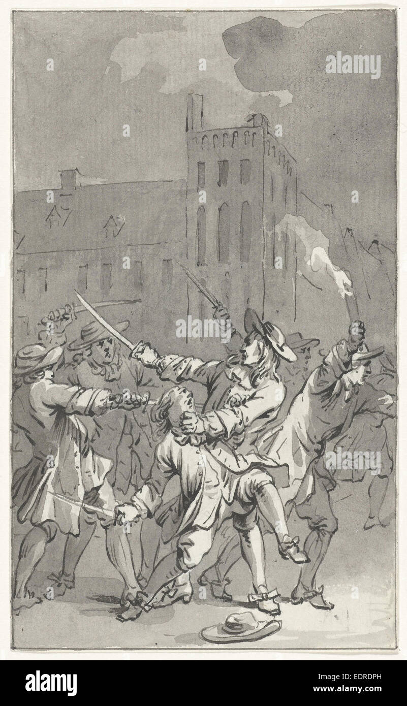 Johan de Witt attacked and seriously injured, 1672, Jacobus Buys, 1788 - Stock Image