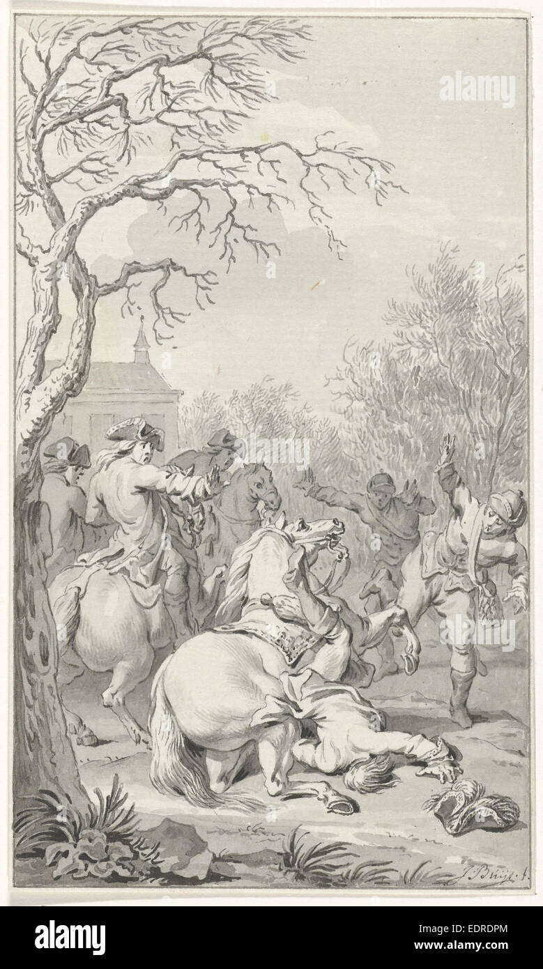 Deadly fall of William III off his horse, March 4, 1702, Jacobus Buys, 1792 - 1794 - Stock Image