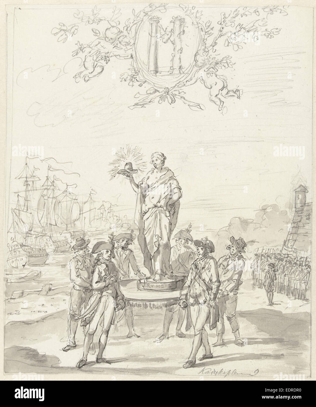General Reinforcement, decoration on the Kadijksplein, 1795, Anonymous - Stock Image