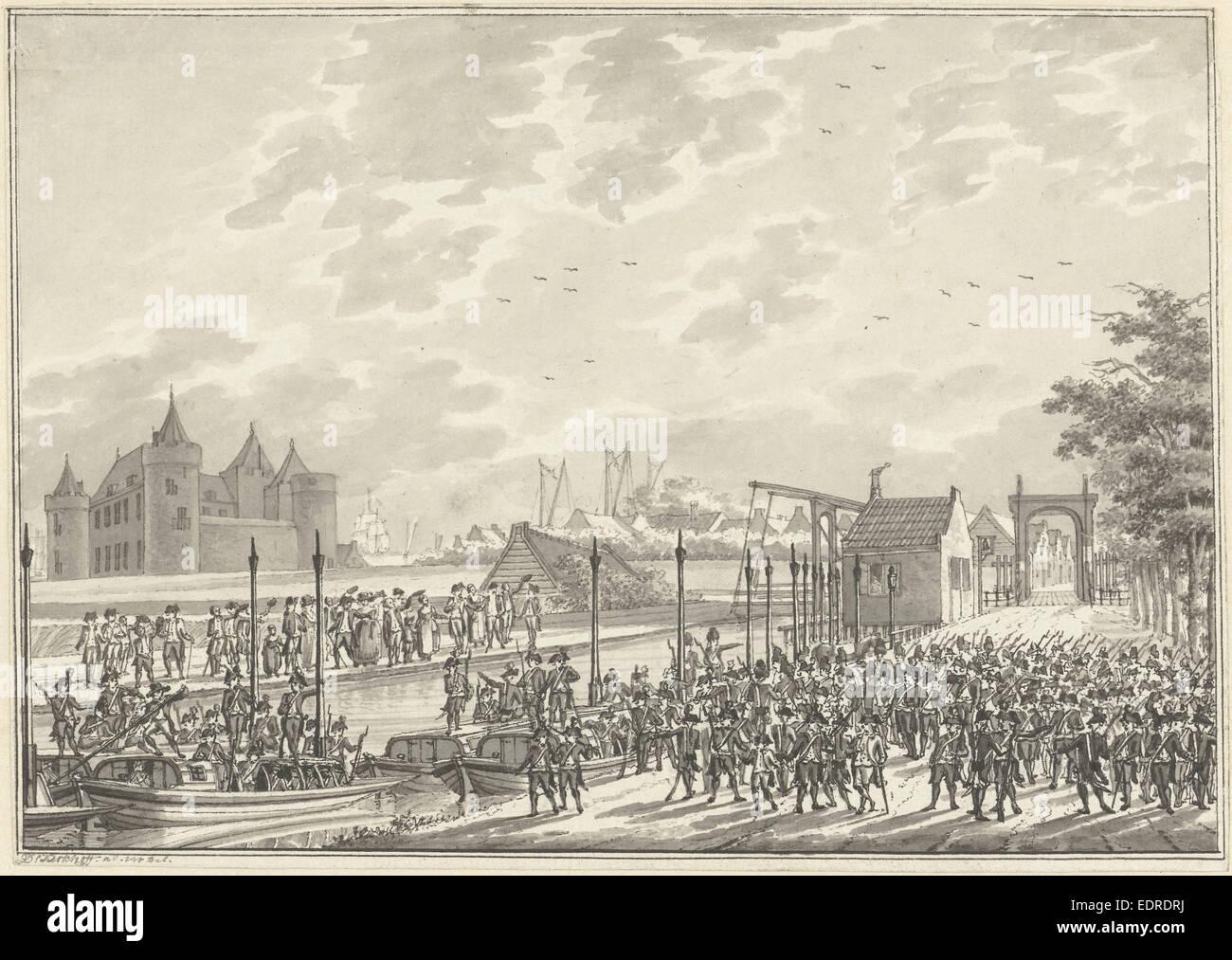 Arrival of Amsterdam armed civilians in Muiden The Netherlands, 1787, Daniël Kerkhoff - Stock Image