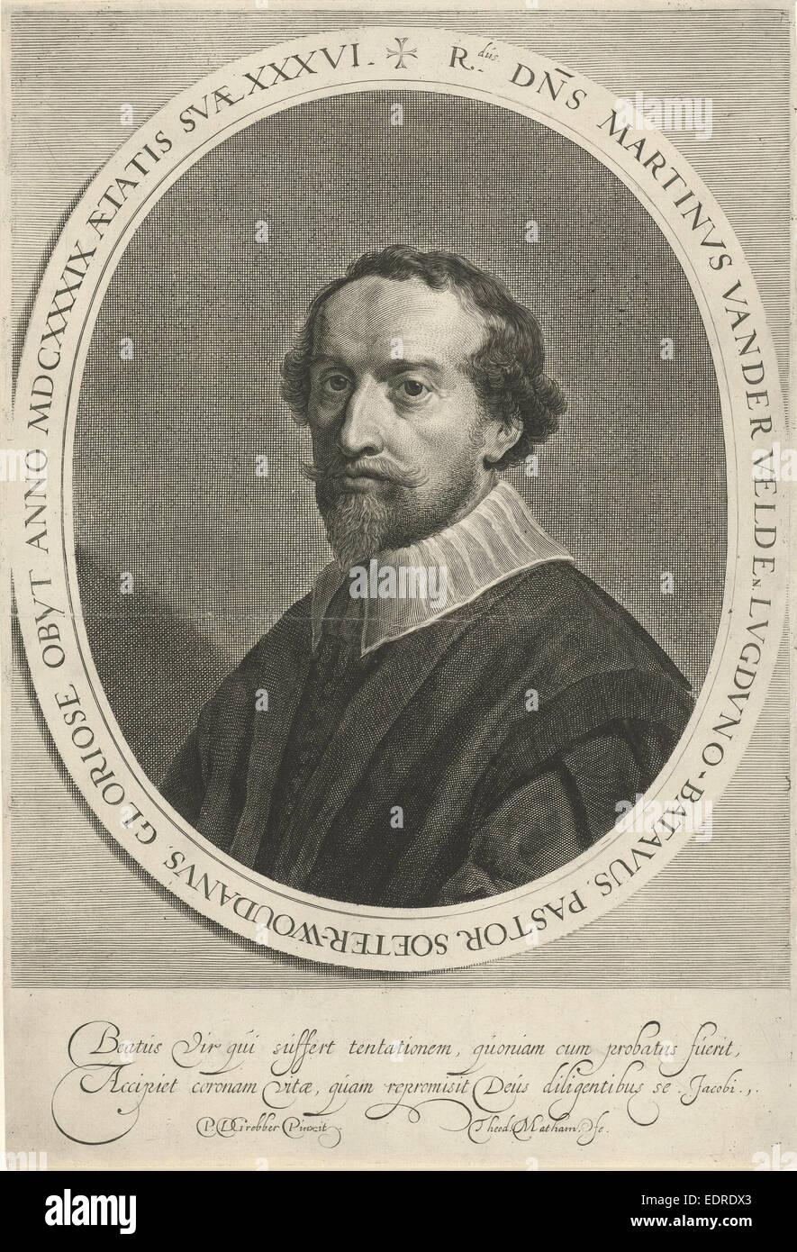 Portrait of Martinus van Velden, Theodor Matham, 1639 - 1676 - Stock Image