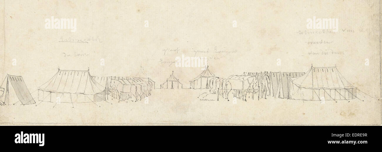 The cavalry camp Malieveld to The Hague, 1742, The Netherlands, Cornelis Pronk - Stock Image