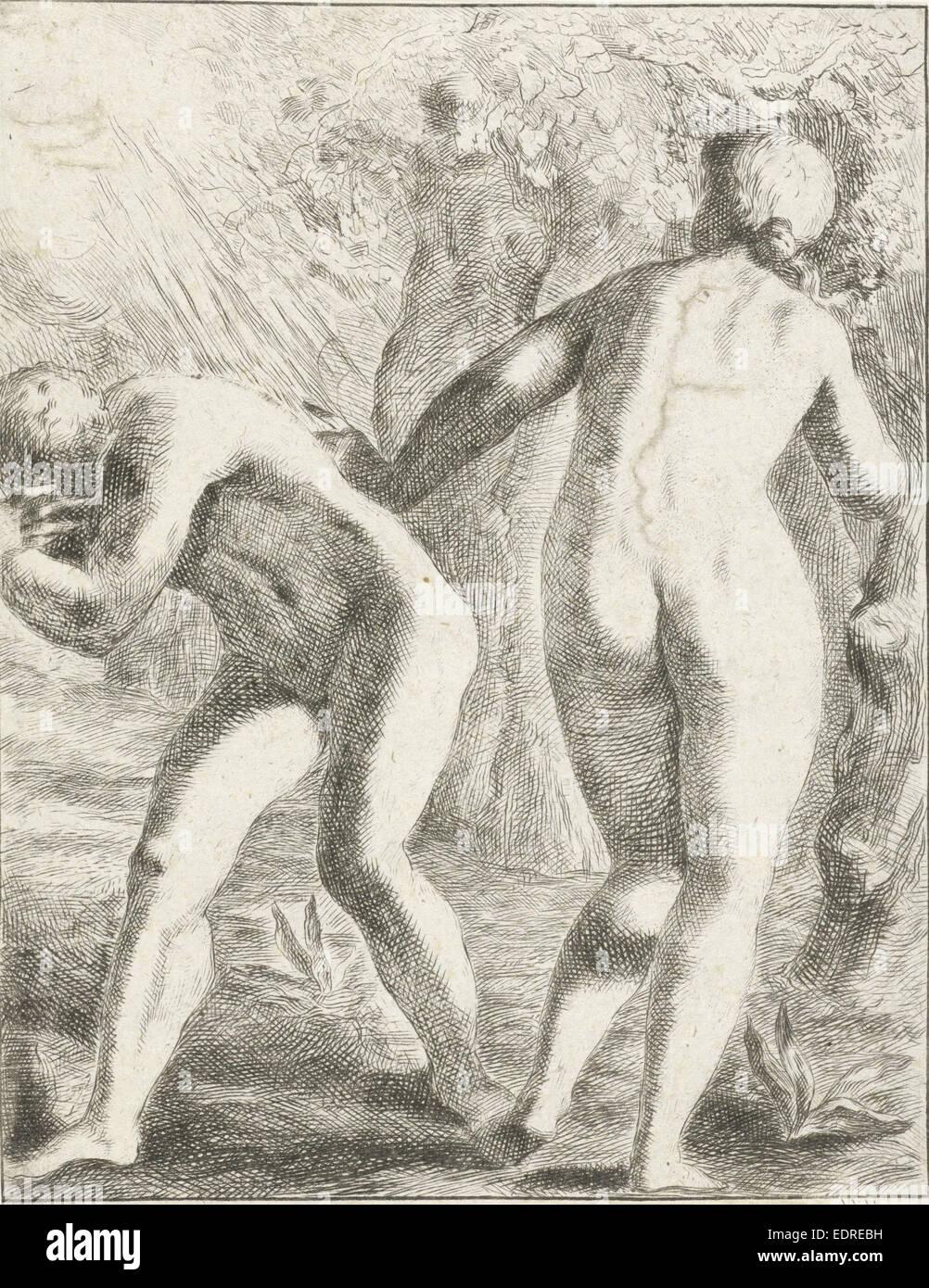 Expulsion from Paradise, Pieter van der Plas (II), 1687 - 1708 - Stock Image