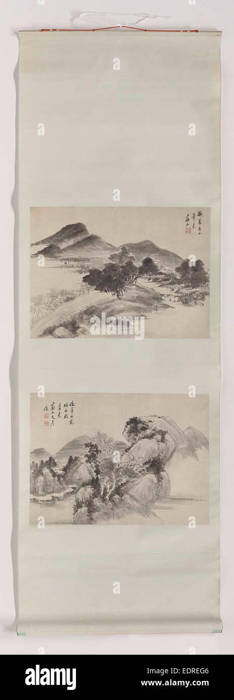 Scroll Painting, Xiang Wenyan, 1850 - 1900 - Stock Image