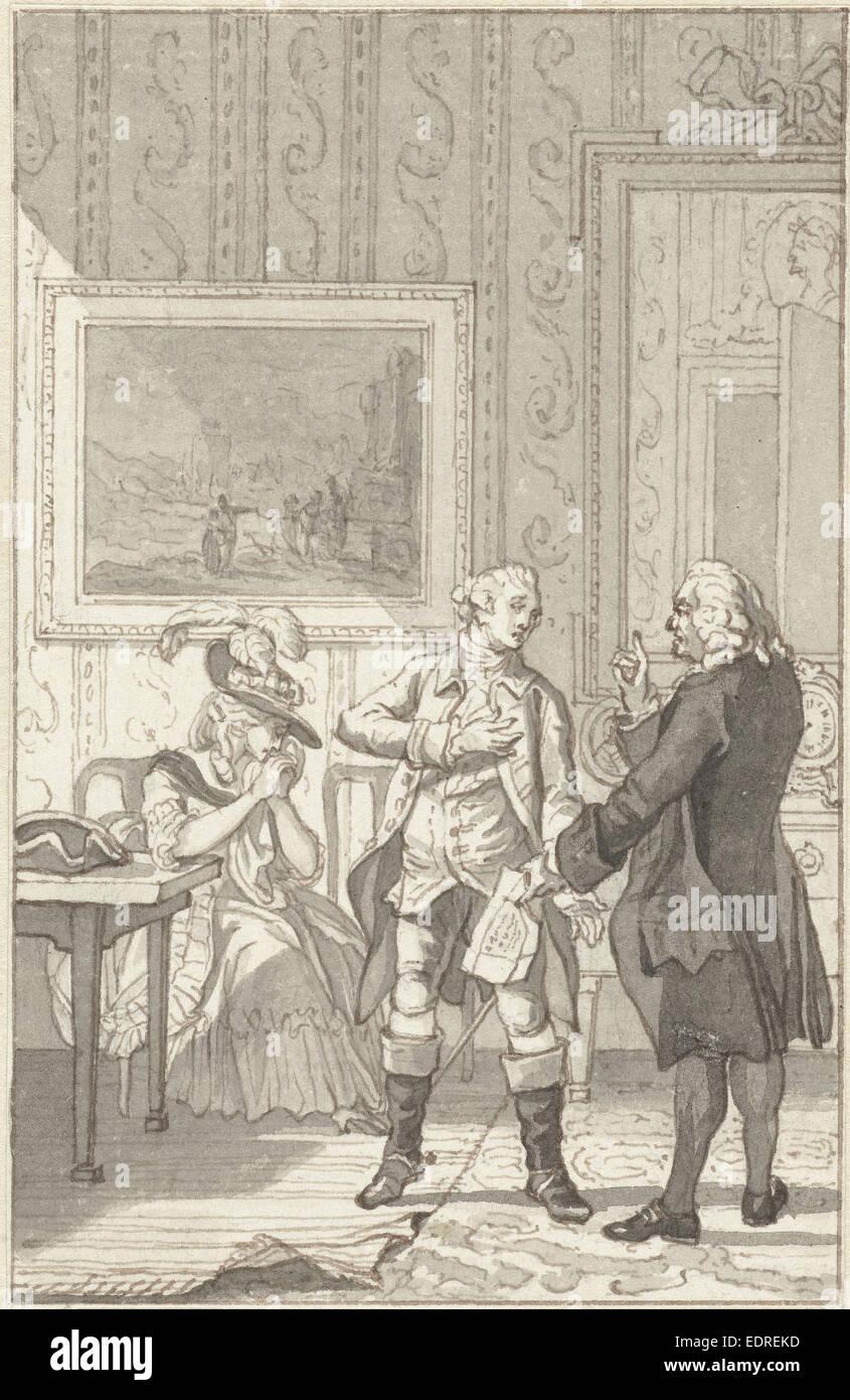 Illustration for the play The Tweegevegt of Jester, Reinier Vinkeles, 1784 - Stock Image
