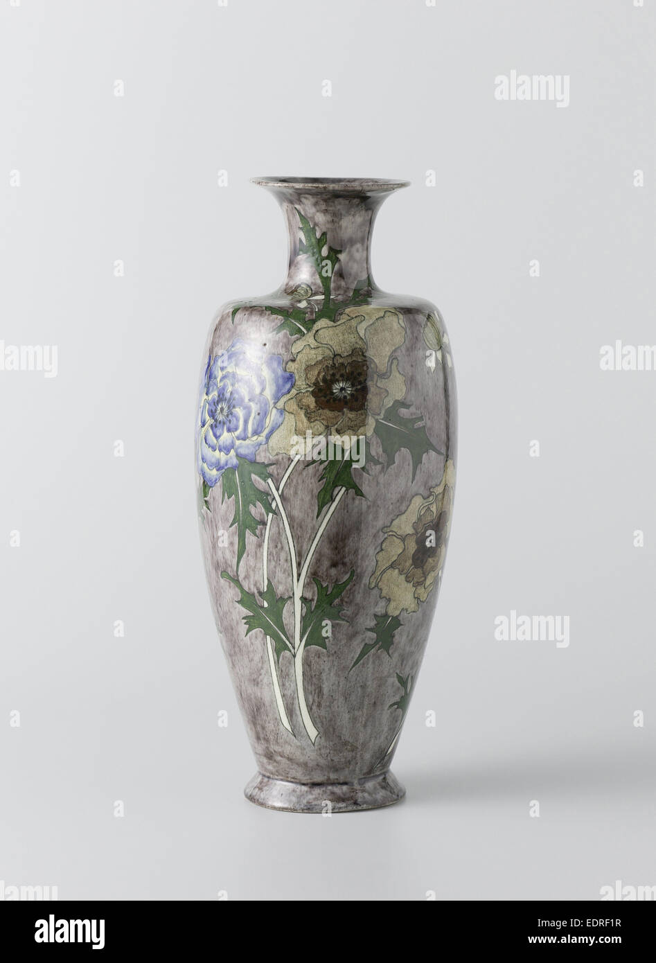 Vase with painting of flowers, Firma Wed. N.S.A. Brantjes en Co., Philippus Lagrand, 1895 - 1904 - Stock Image