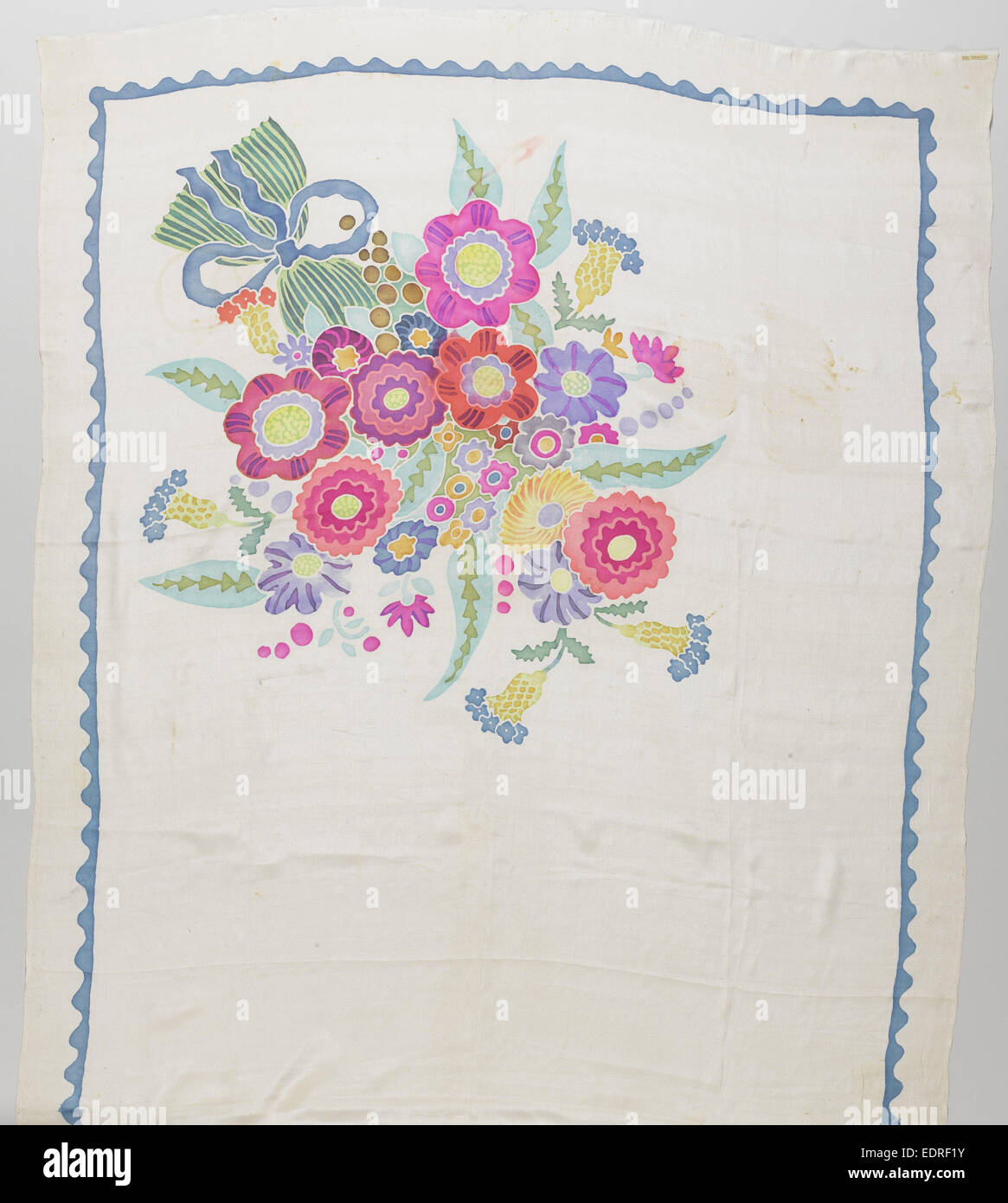 Scarf crepe de Chine with a white ground, which on both sides a multicolored pattern of flowers, Wiener Werkstätte - Stock Image