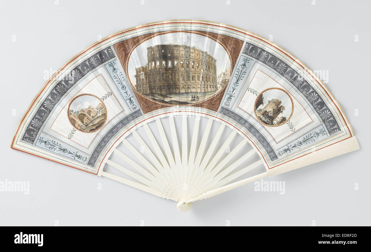 Folding fan with sheet of goatskin, which with gouache the Colosseum, the Baths of Caracalla - Stock Image