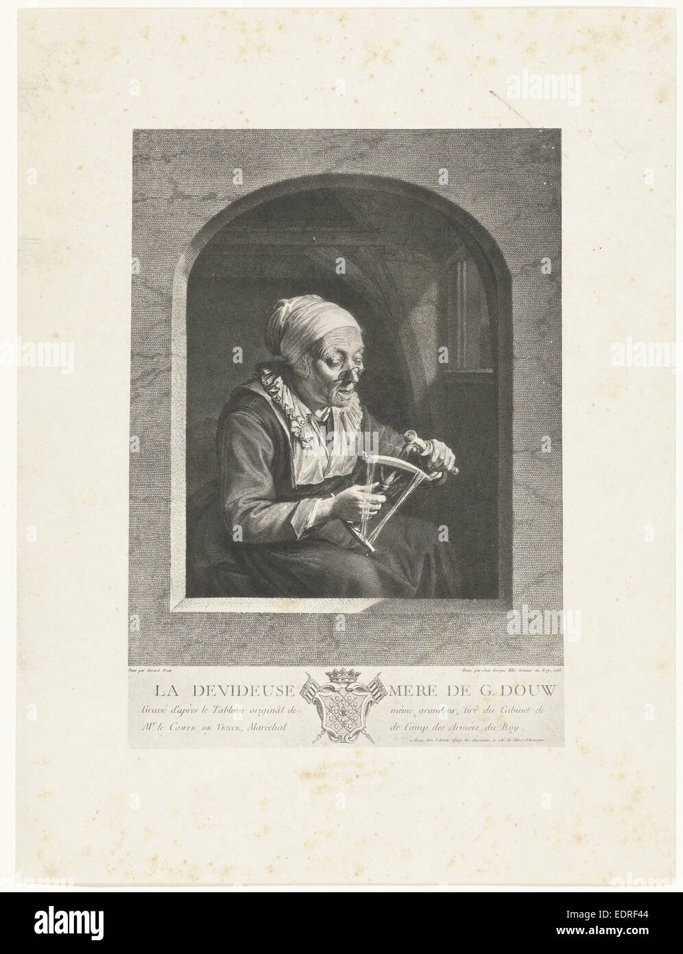 Photographic reproduction of the print La Dévideuse after Gerard Dou by Wille, Maurits Verveer, Johann Georg - Stock Image