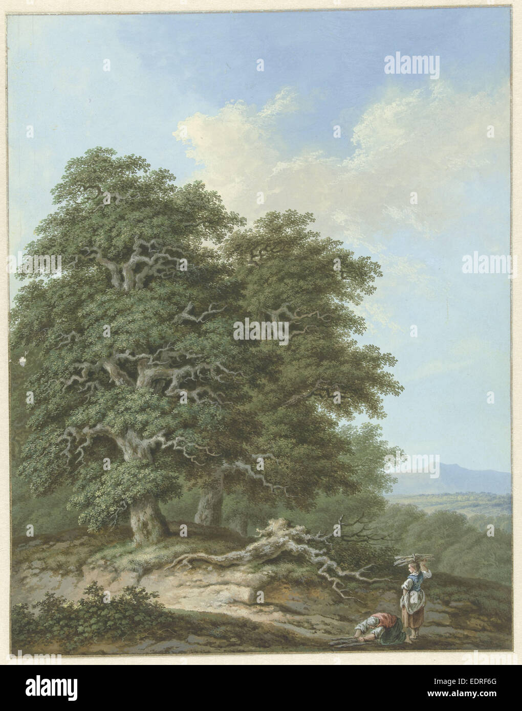 Landscape with two women with fagots, Anonymous, 1793 - Stock Image
