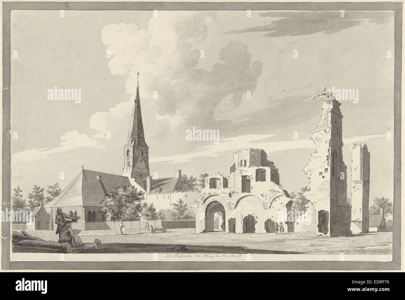 The ruins of the abbey of Rijnsburg The Netherlands, Gerrit Toorenburgh, 1742 - 1785 - Stock Image