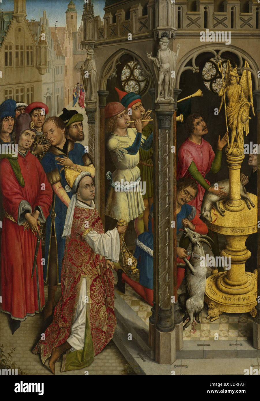 Augustine Sacrificing to an Idol of the Manichaeans ? (Saint Géry, Bishop of Cambrai? or Scene from the Life - Stock Image