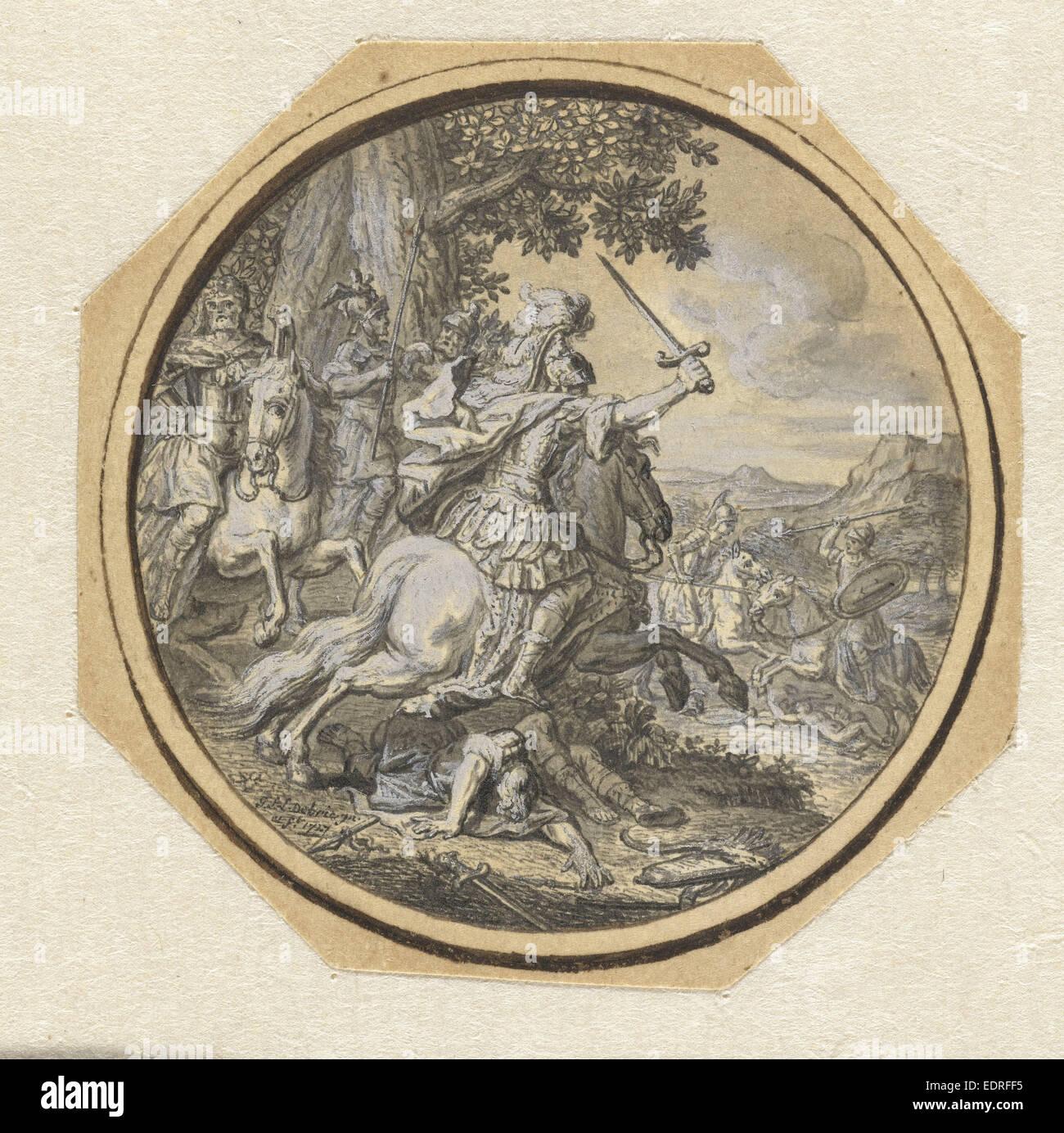 Battle Scene, Gabriel François Louis Debrie, 1747 - Stock Image