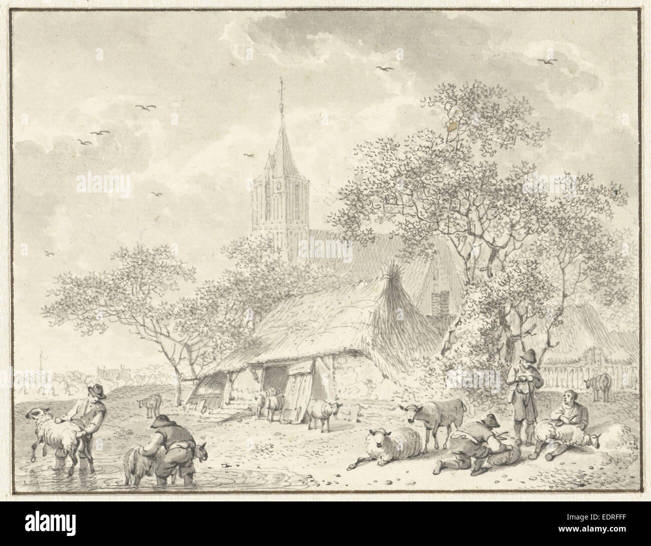 Sheepshearers, Hendrik Meijer, 1784 Stock Photo