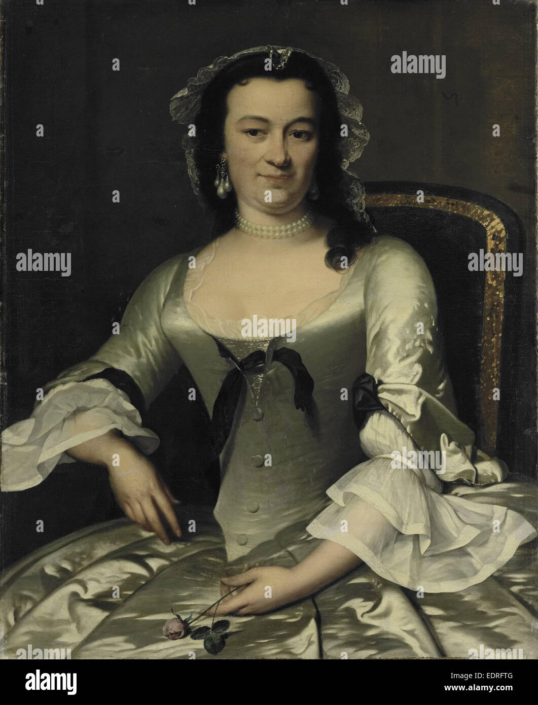 Portrait of Maria Henriëtte van de Pol, Wife of Willem Sautijn, Frans van der Mijn, 1750 - 1760 - Stock Image