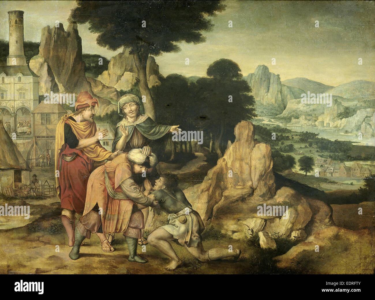 Parable of the Prodigal Son, Cornelis Massijs, 1538 - Stock Image