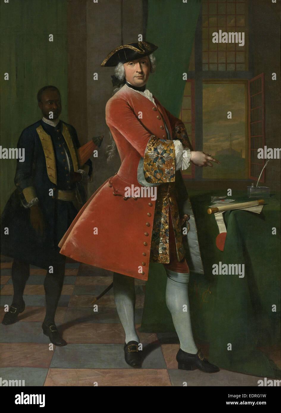 Portrait of Jan Pranger, Frans van der Mijn, 1742 - Stock Image