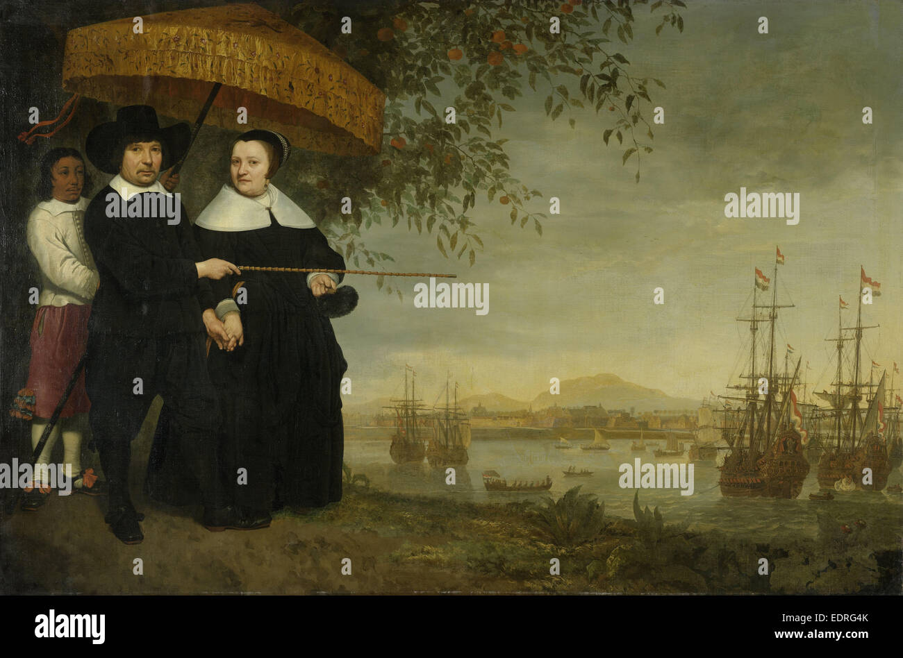 A Senior Merchant of the Dutch East India Company, Jacob Mathieusen and his Wife. Behind them, a Slave Holds - Stock Image