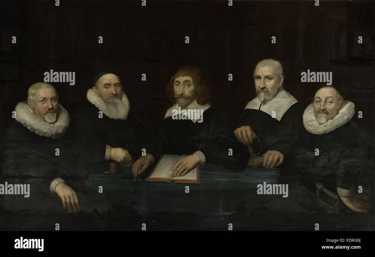 The Regents of the House of Correction of Middelburg, 1643, the Netherlands, Allaert van Loeninga, 1643 - Stock Image