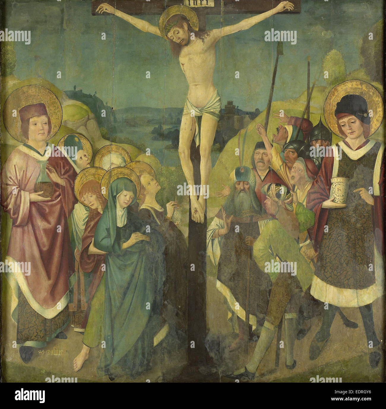 Crucifixion with Saints Cosmas and Damian, Anonymous, 1425 - 1449 - Stock Image