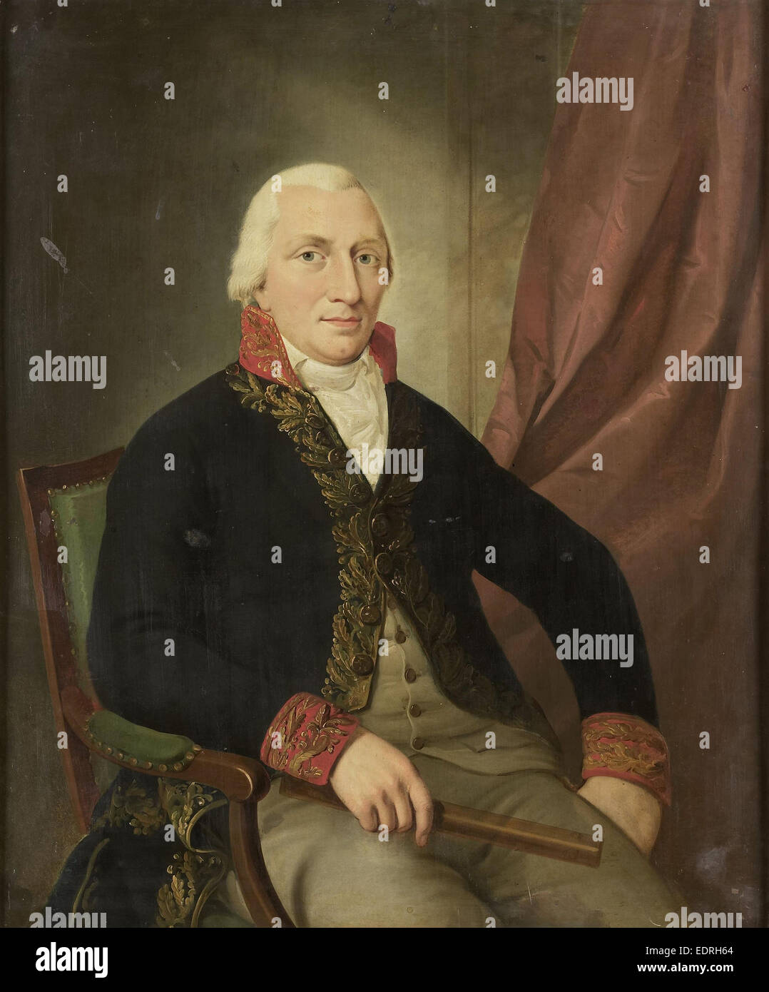 Portrait of Albertus Henricus Wiese, Governor-General of the Dutch East Indies, attributed to Adriaan de Lelie, - Stock Image
