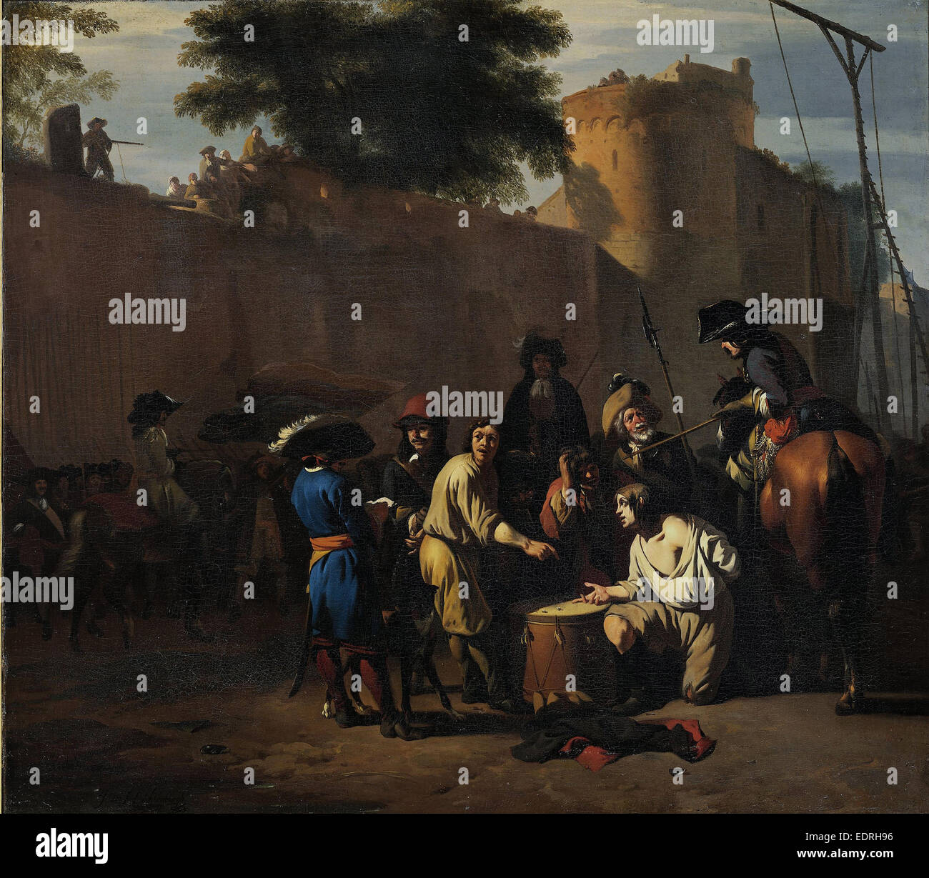 Dice Game at the Gallows, Jan van Huchtenburg, 1680 - 1720 - Stock Image