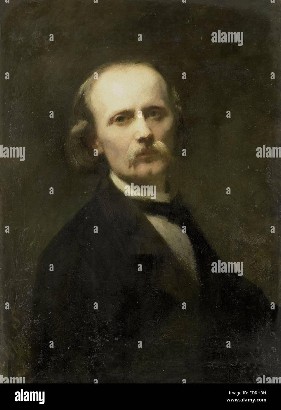 Self-Portrait, Johann Georg Schwartze, 1869 - Stock Image