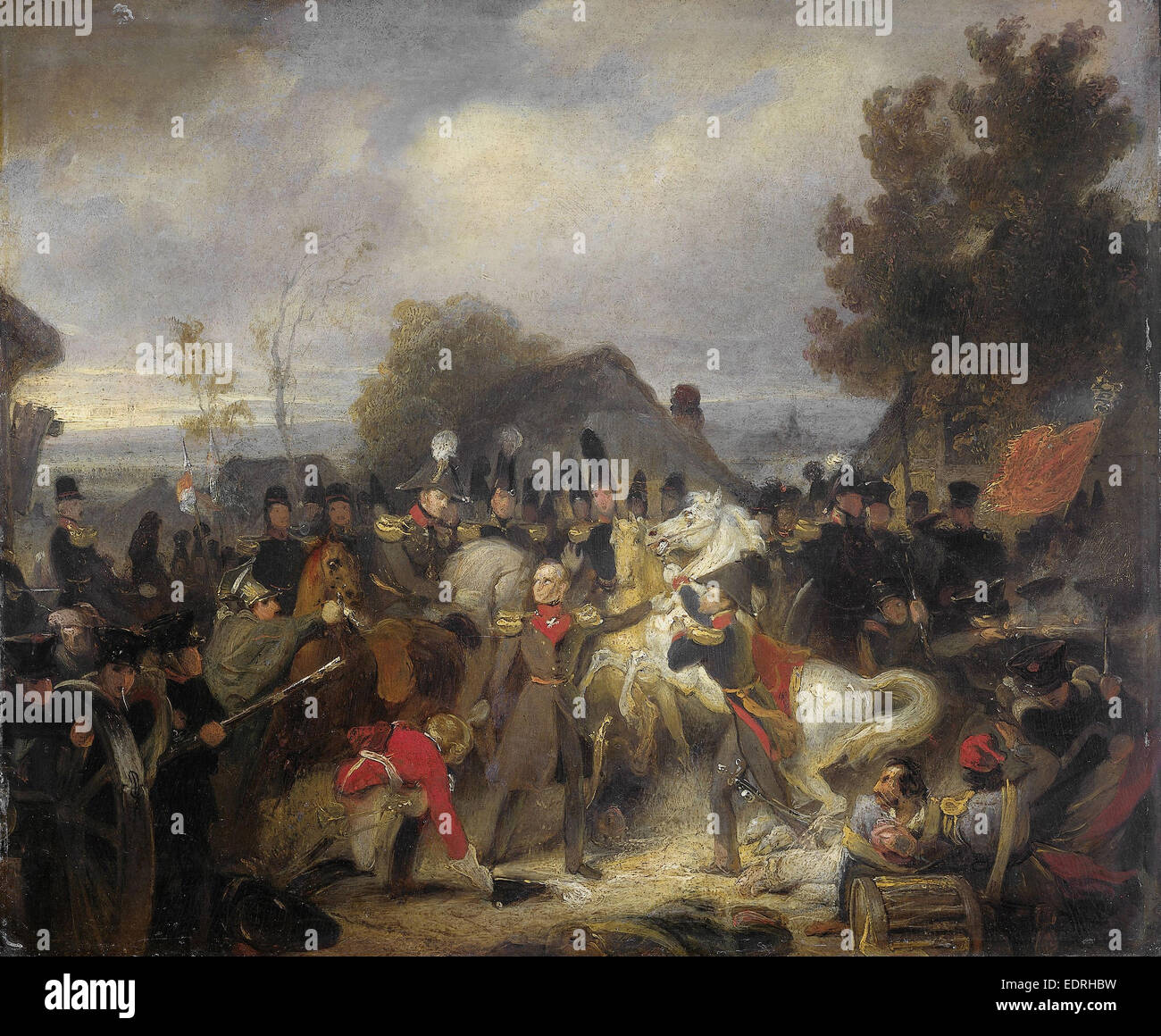 Replacement of the injured Horse of the Prince of Orange, later King William II, during the Battle at Boutersem, - Stock Image