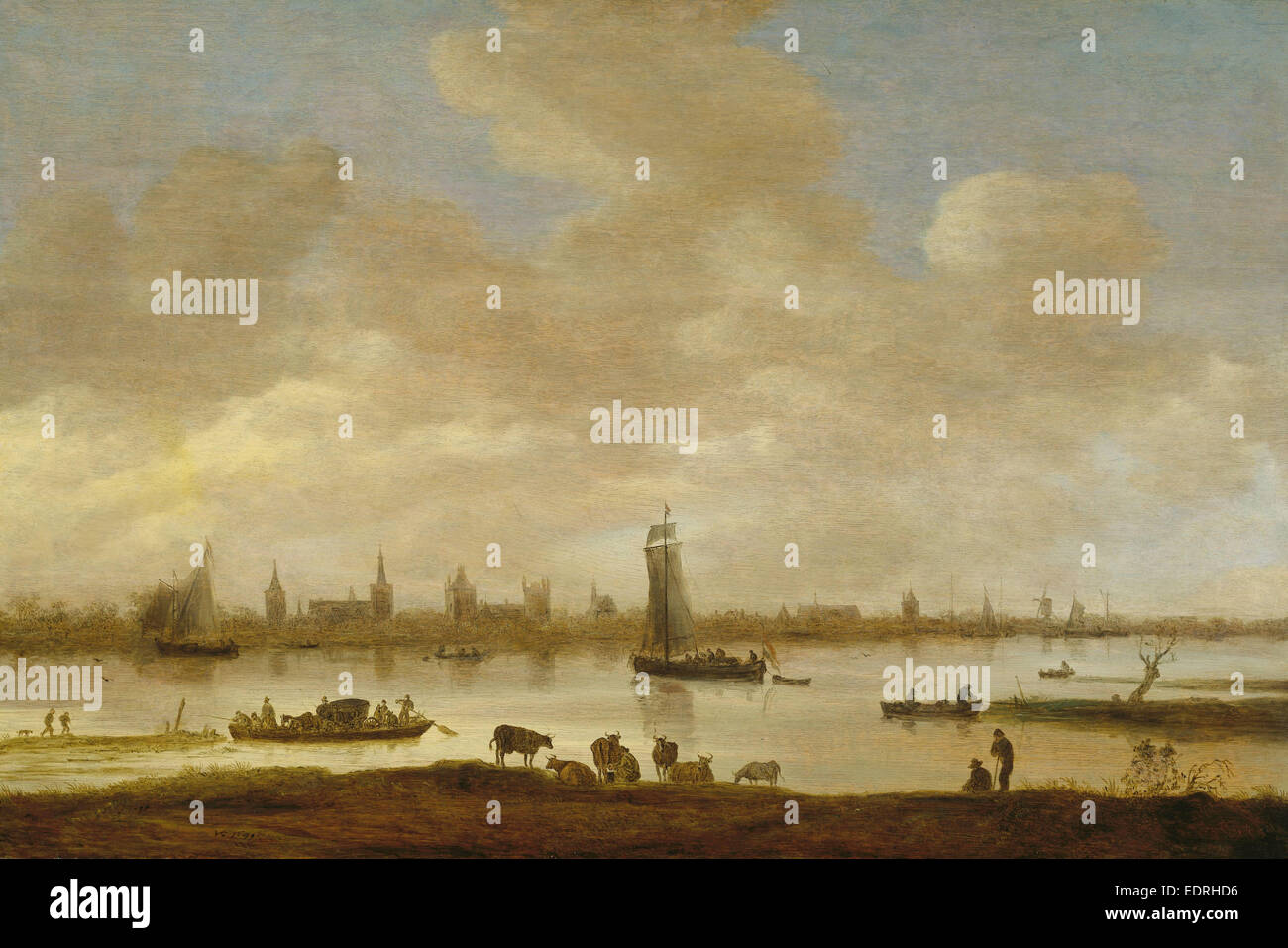 View of an Imaginary Town on a River with the Tower of Saint Pol in Vianen, River Landscape with View of Vianen, - Stock Image