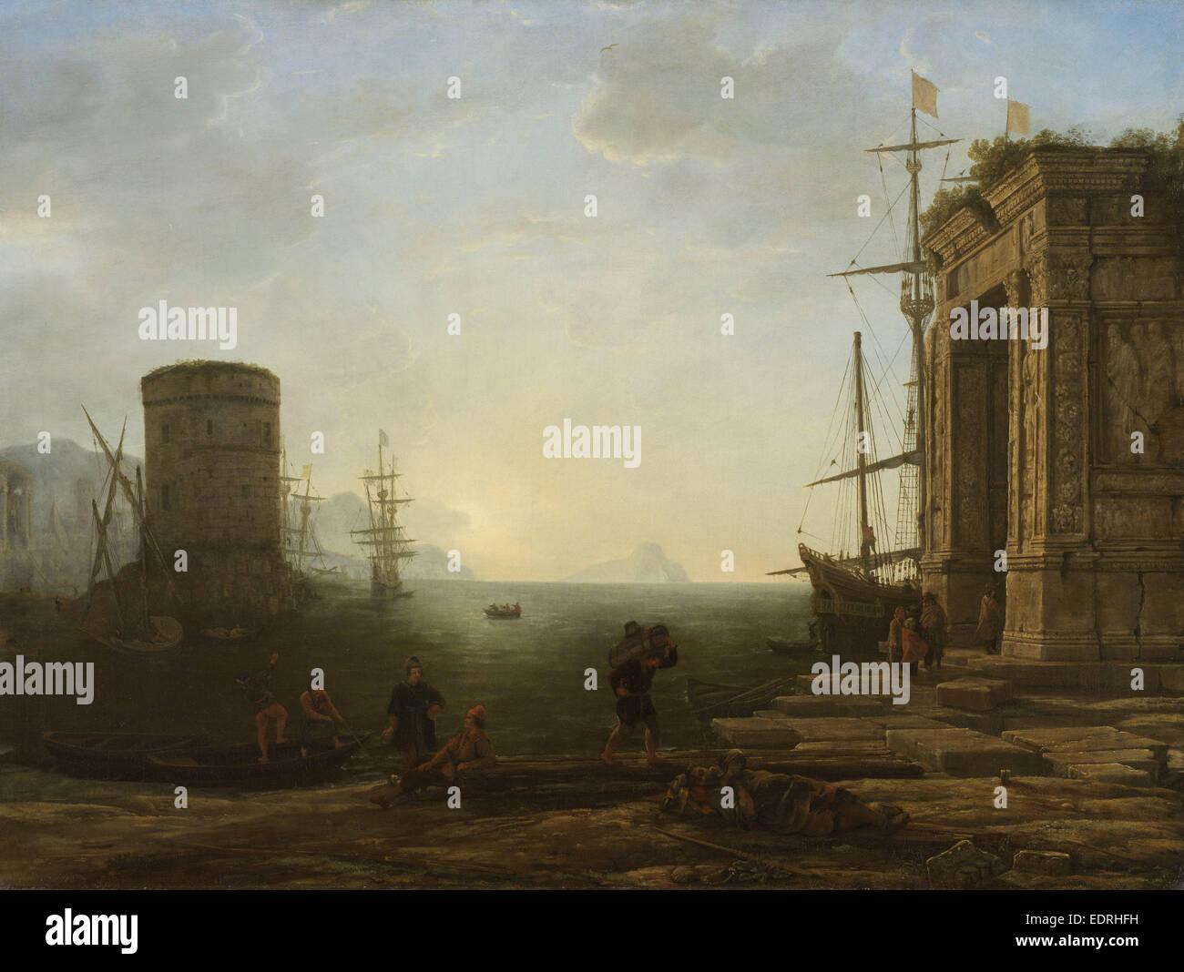 Harbour at Sunrise, Gellée,  Le Lorrain , Claude, c. 1637 - c. 1638 - Stock Image