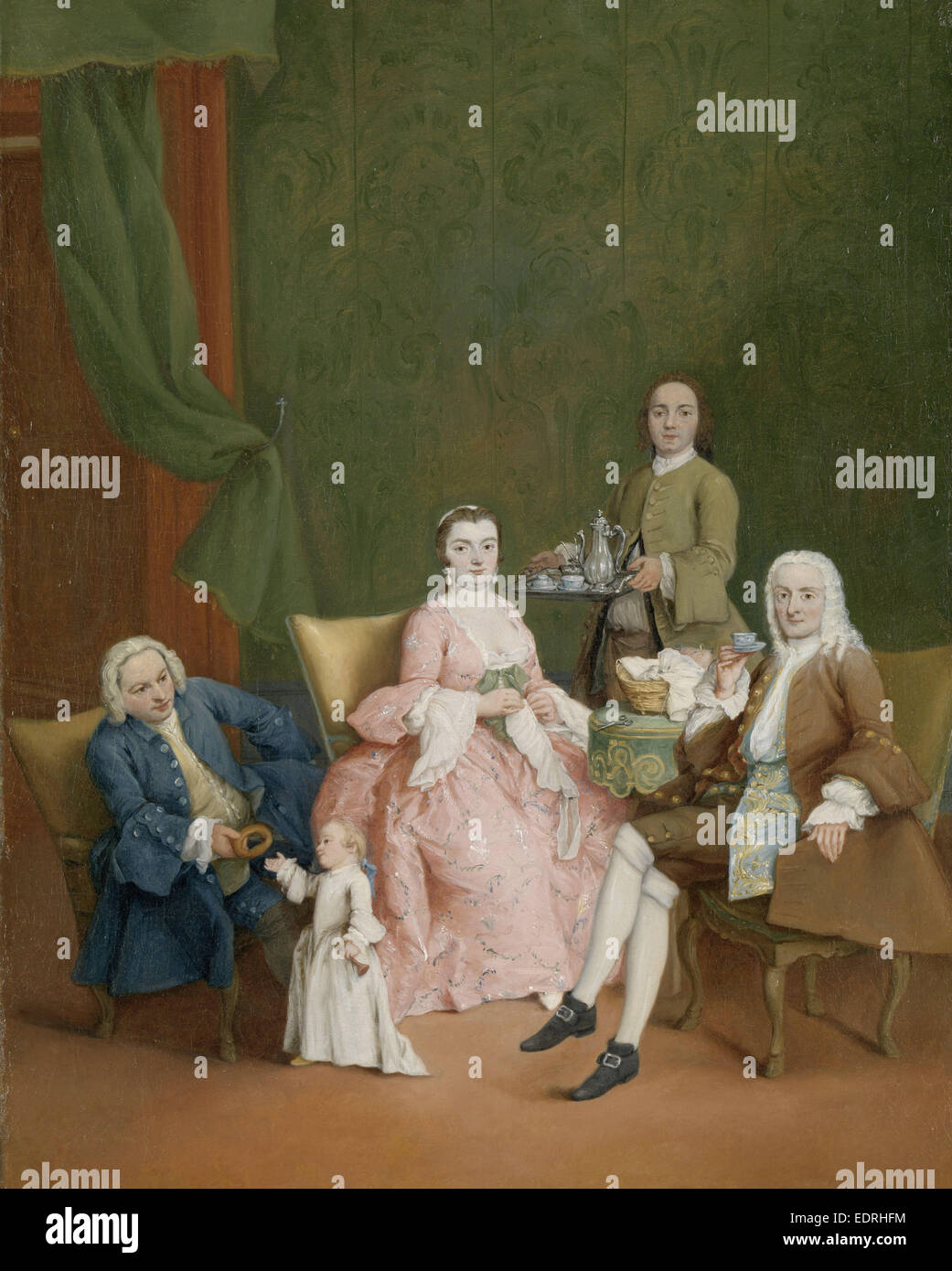 Portrait of a Venetian Family with a Manservant Serving Coffee, Pietro Longhi, c. 1752 - Stock Image