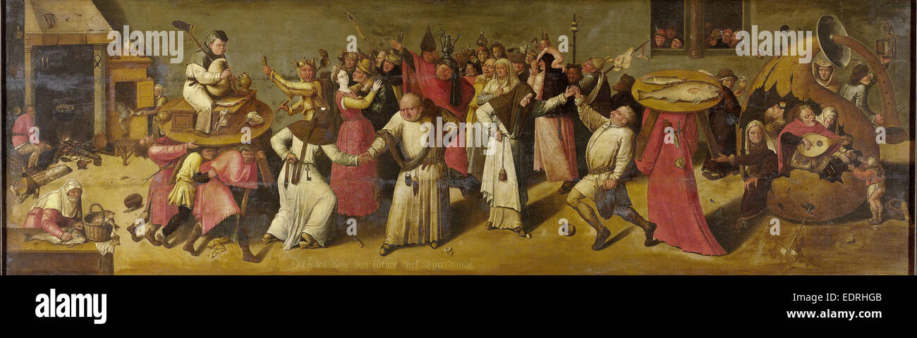 The Battle between Carnival and Lent, manner of Jheronimus Bosch, c. 1600 - c. 1620 - Stock Image