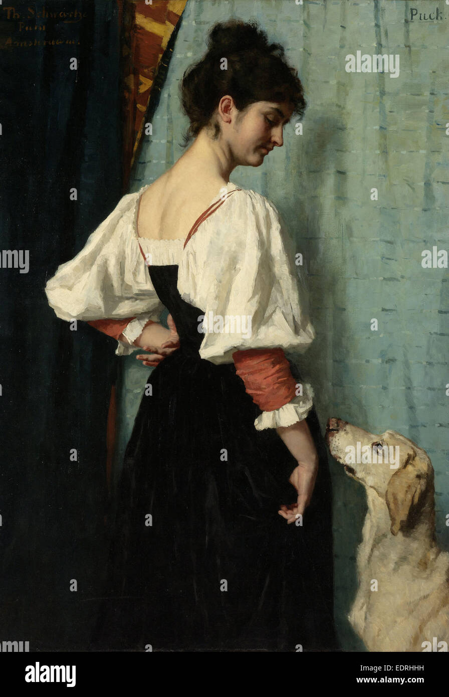 Young Italian woman with the dog Puck, Thérèse Schwartze, 1879 - 1885 - Stock Image