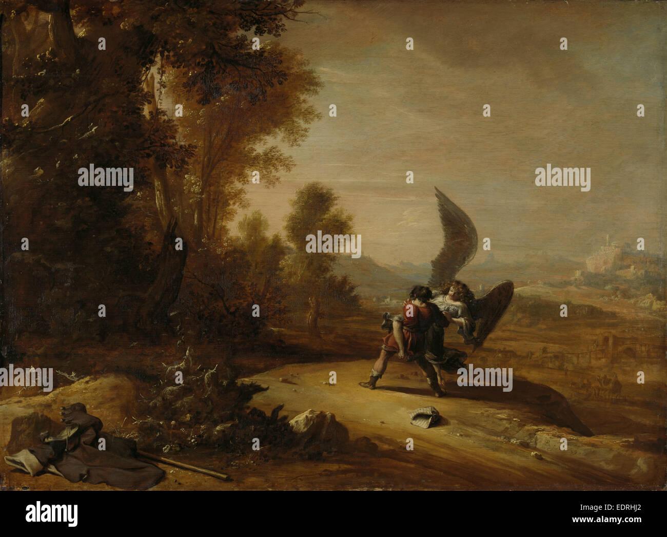 Jacob Wrestling with the Angel, Bartholomeus Breenbergh, 1639 - Stock Image