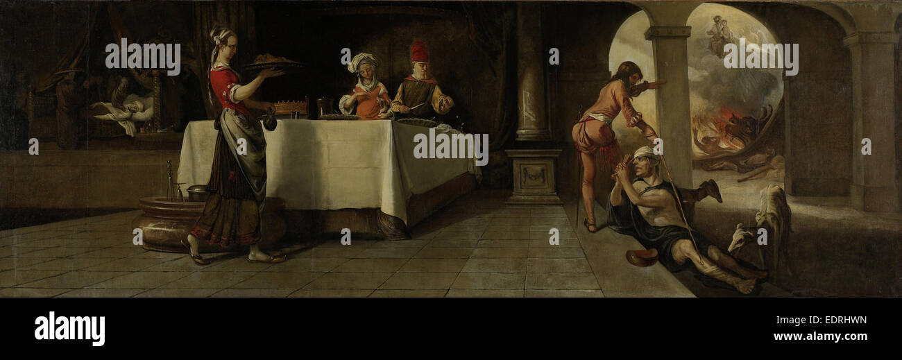 The Rich Man and Poor Lazarus, Barent Fabritius, 1661 Stock Photo