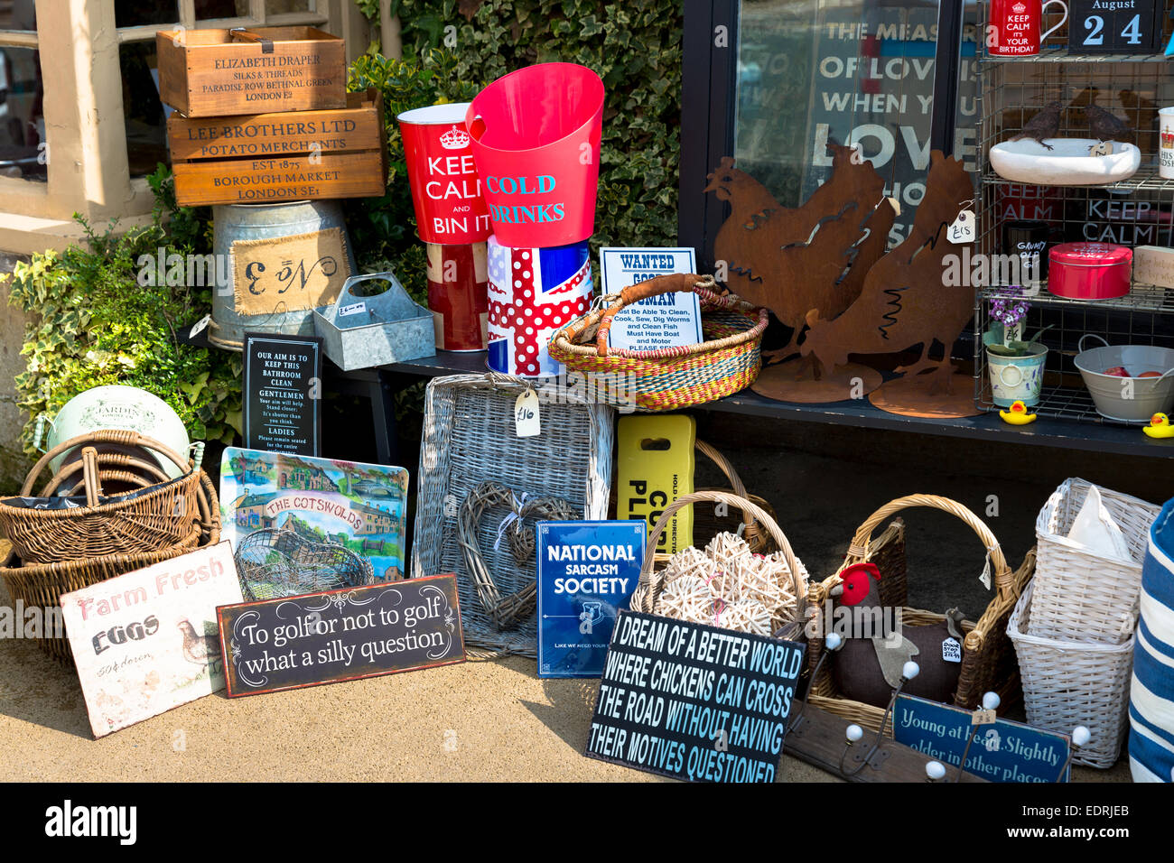Quirky and jokey gifts and souvenirs and ephemera at gift shop in Burford, The Cotswolds, Oxfordshire, UK - Stock Image