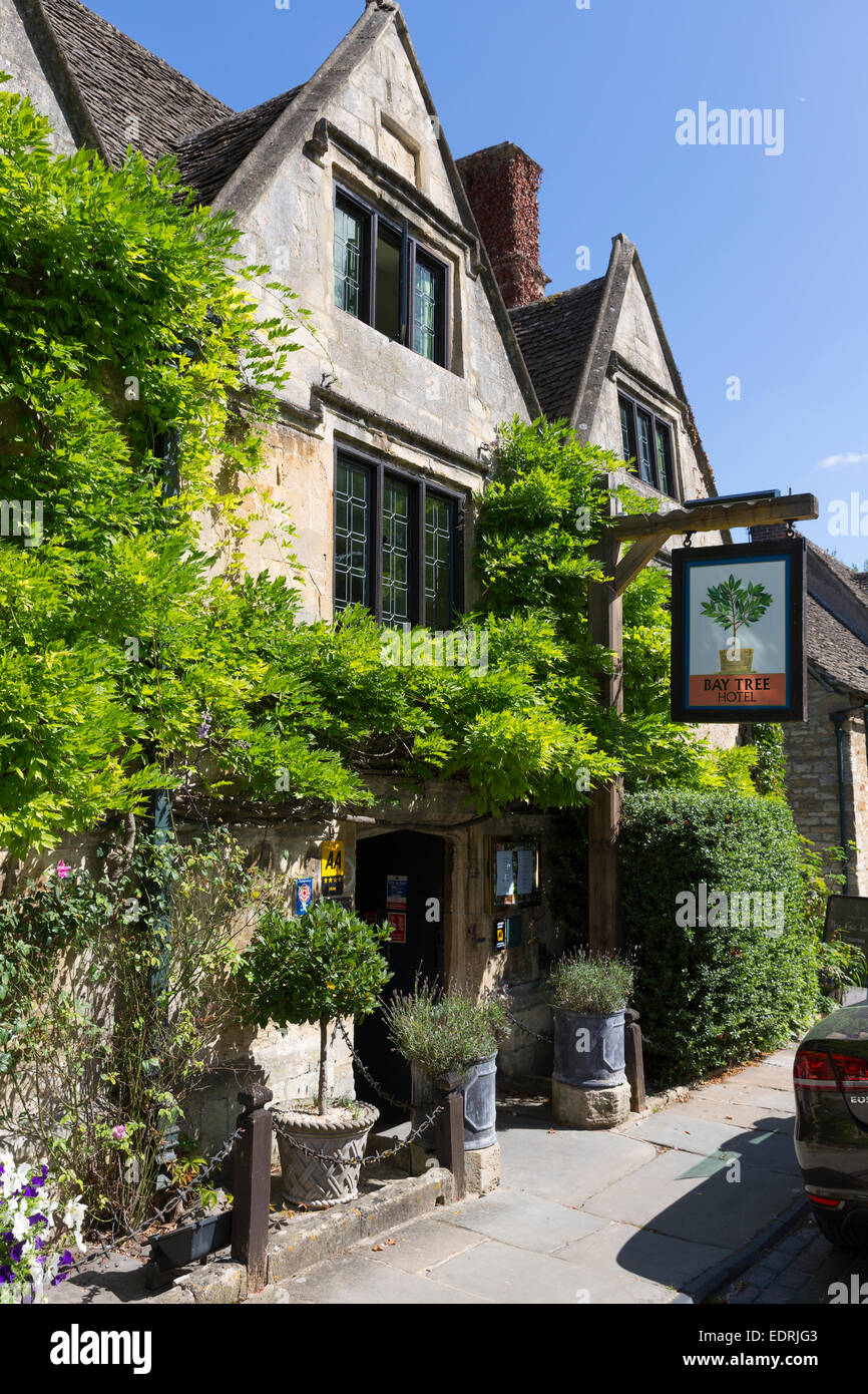 Pub sign of the Bay Tree Hotel a traditional old gastro pub hotel in Burford, The Cotswolds, Oxfordshire, UK - Stock Image