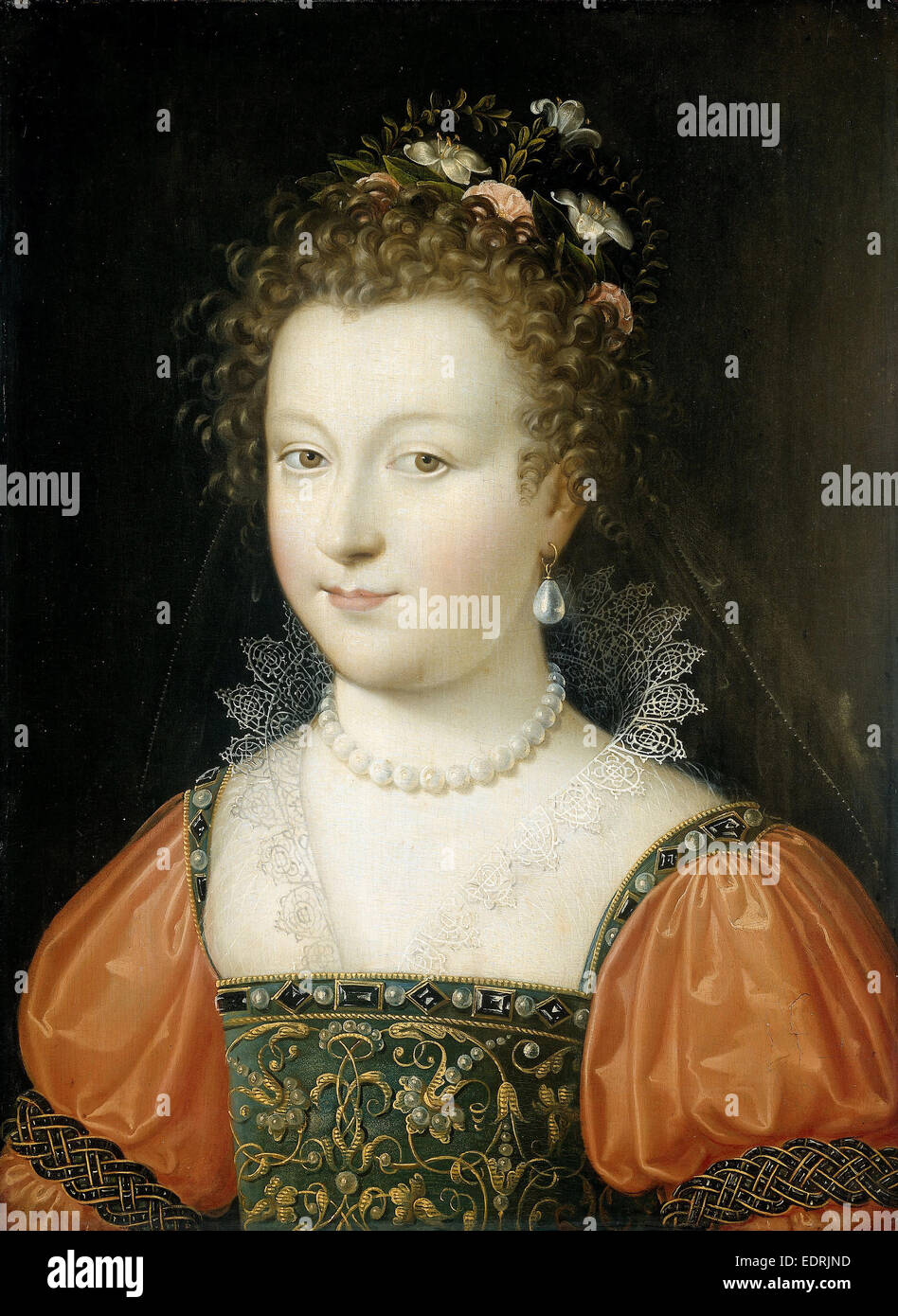 Portrait of a Woman (previously identified as Queen Elizabeth I), Anonymous, 1550 - 1574 - Stock Image