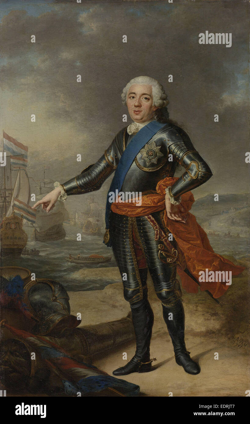 Portrait of William IV, Jacques André Joseph Camellot Aved, 1751 - Stock Image