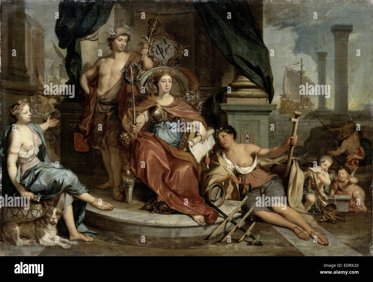 Apotheosis of the Dutch East India Company, Allegory of the Amsterdam Chamber of Commerce of the VOC, Nicolaas Verkolje - Stock Image