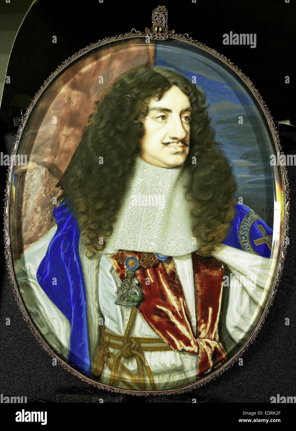 Karel II, 1630-85, king of England, Samuel Cooper, 1665, Portrait miniature - Stock Image