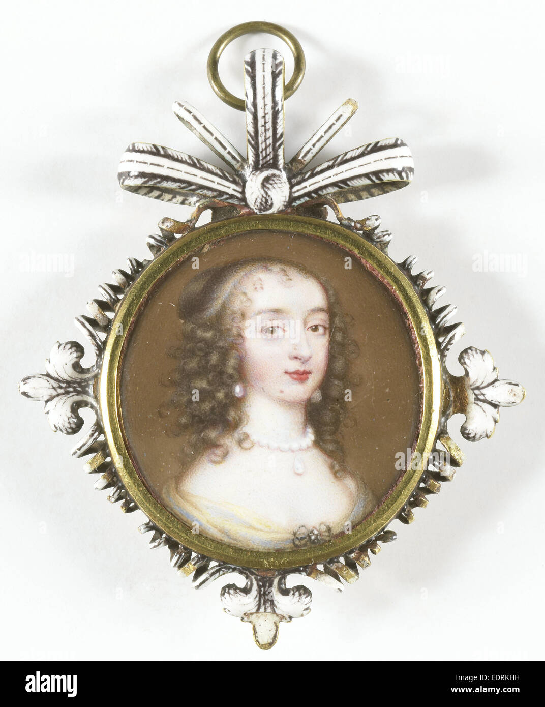 Maria Stuart, 1631-60, Wife of William II, attributed to Jean Petitot, le vieux, 1645 - 1650, Portrait miniature - Stock Image