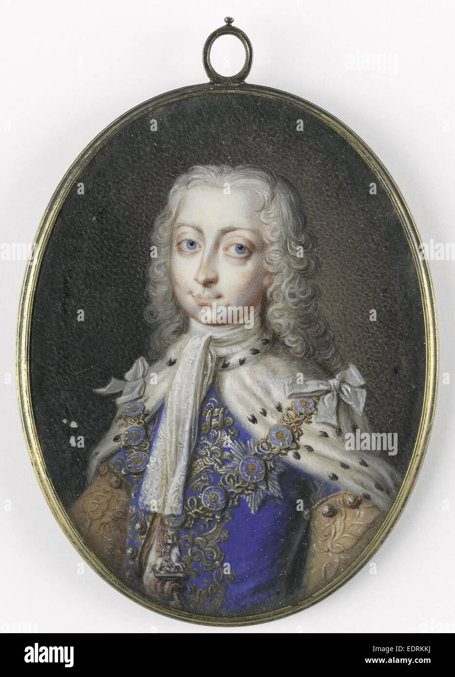 Frederick Louis, 1707-51, Prince of Wales. Son of King George II, Anonymous, 1735 - 1740, Portrait miniature - Stock Image