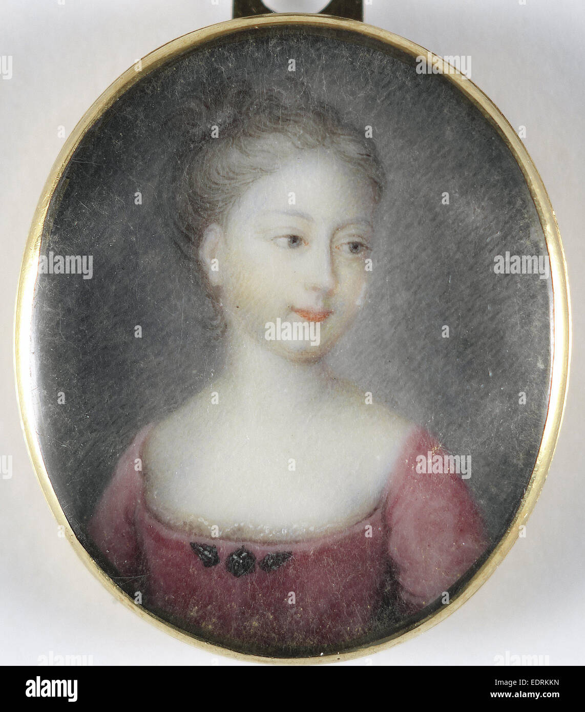 Portrait, a girl, probably a daughter of George II, King of England, Anonymous, 1715 - 1725, Portrait miniature - Stock Image