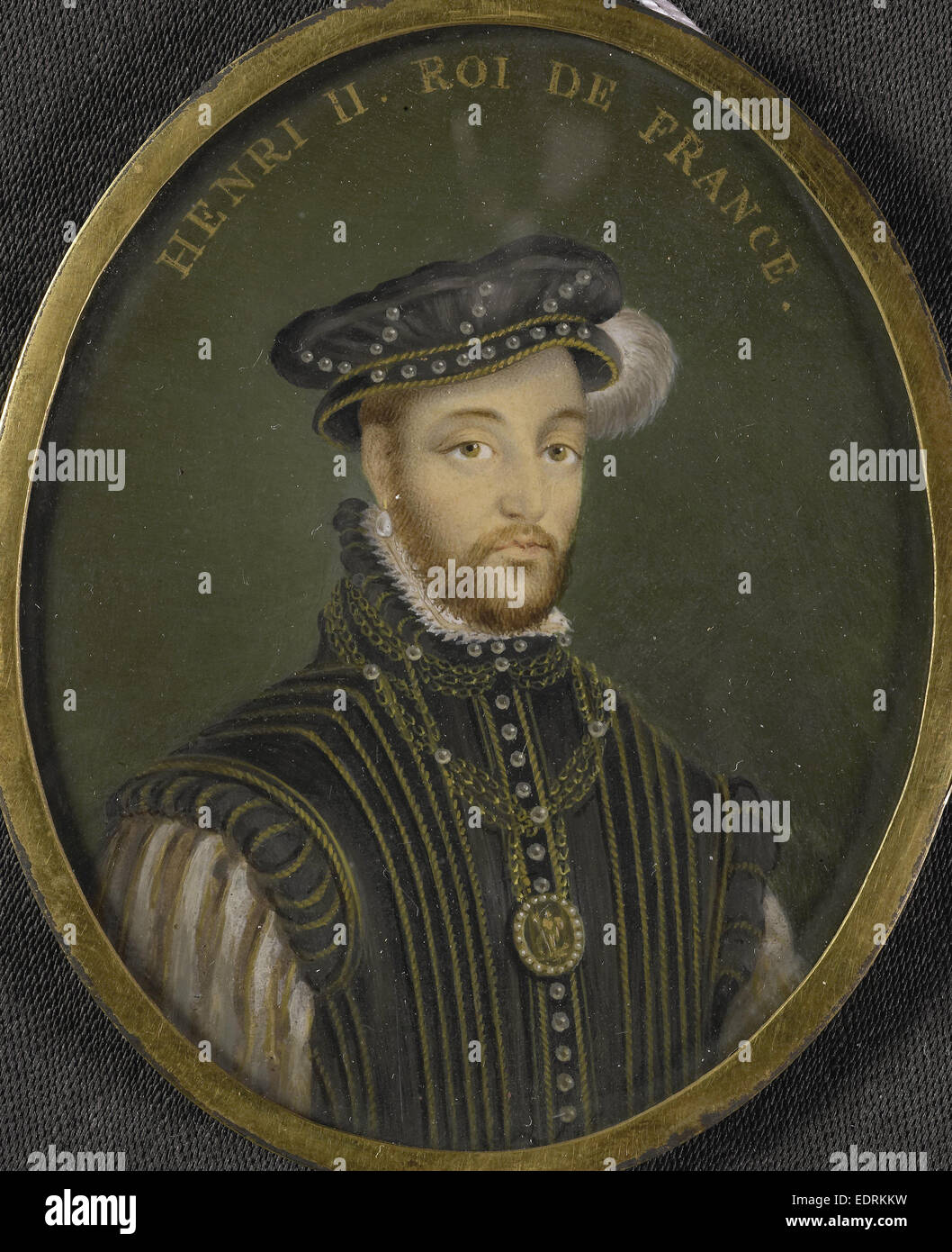 Henry II, 1518-59, king of France, Anonymous, 1700 - 1799, Portrait miniature Stock Photo
