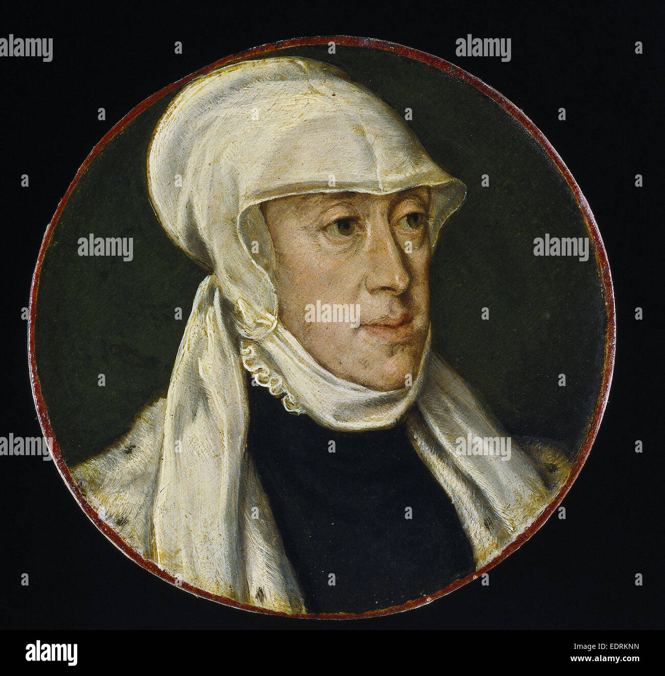 Maria of Hungary, Regent of the Netherlands, Anonymous, 1550 - 1560, Portrait miniature - Stock Image