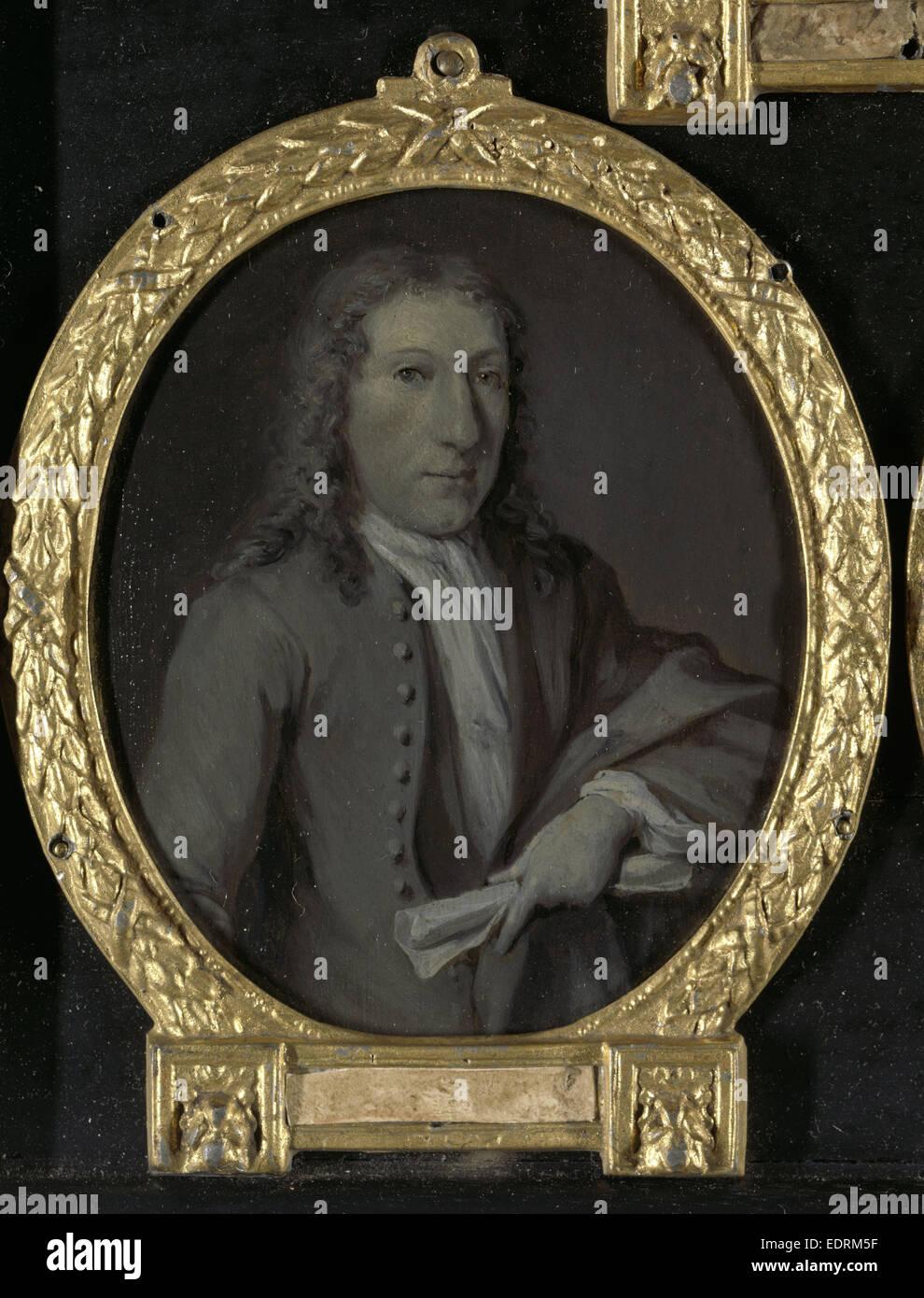 Portrait of Gijsbert Tijssens, Playwright in Amsterdam The Netherlands, Jan Maurits Quinkhard, 1732 - 1771 - Stock Image
