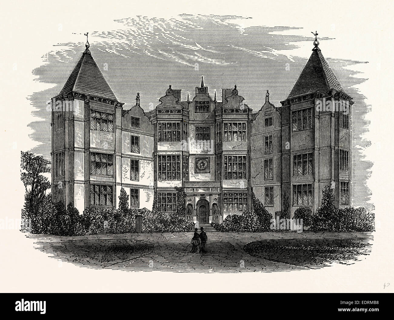 The Principal Front, Westwood Park, UK, England, engraving 1870s, Britain - Stock Image